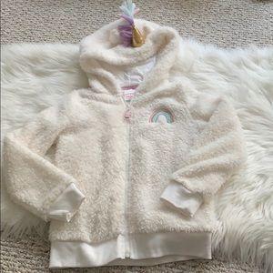 Other - Girls unicorn hoodie fuzzy zip up sweatshirt